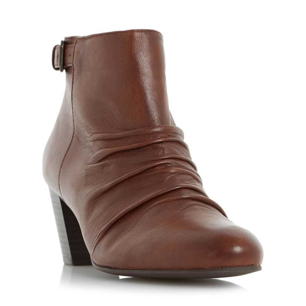 Ornita Buckle Detail Ruched Ankle Boot