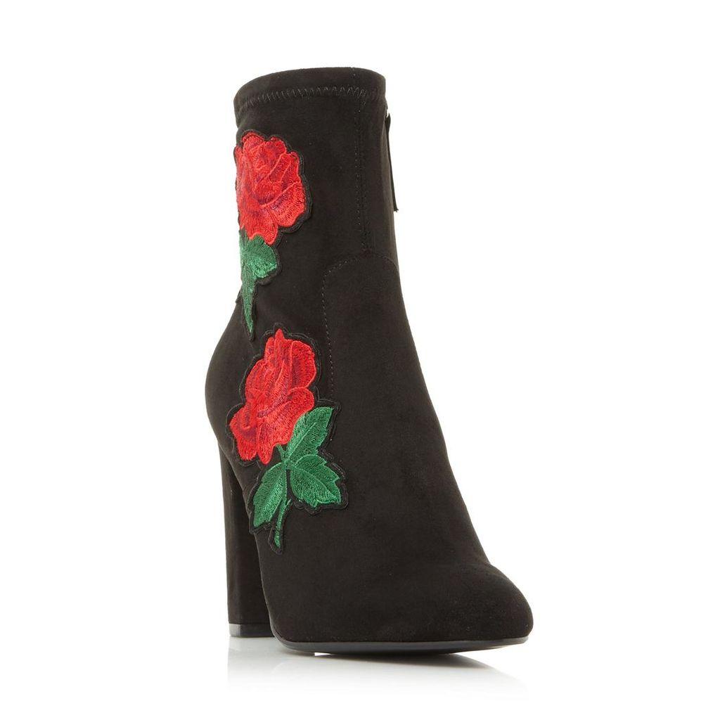 Edition Sm Floral Applique Ankle Sock Boot