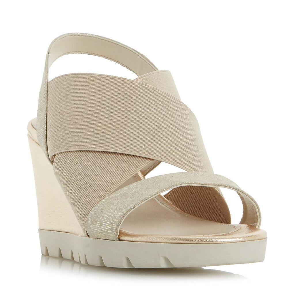 Kelsall Comfort Elasticated Cross Strap Wedge Sandal