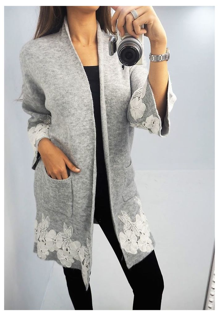 Hilton floral crochet chunky knitted cardigan