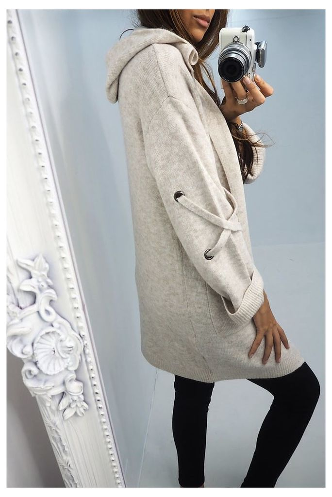 Kaye lace up arm knitted hooded cardigan