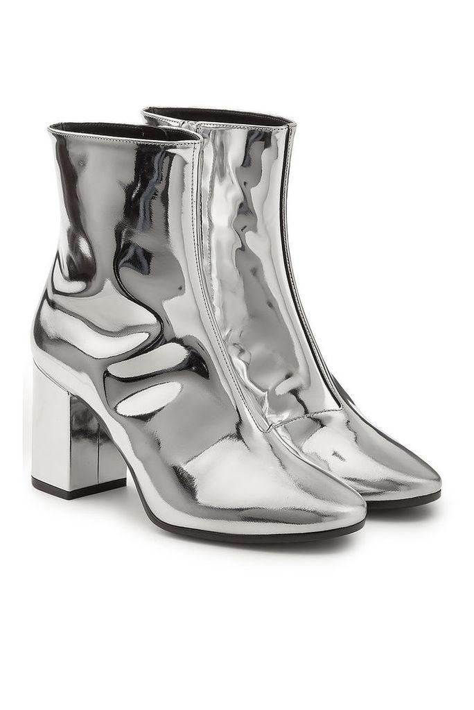 Balenciaga Mirror Metallic Leather Ankle Boots
