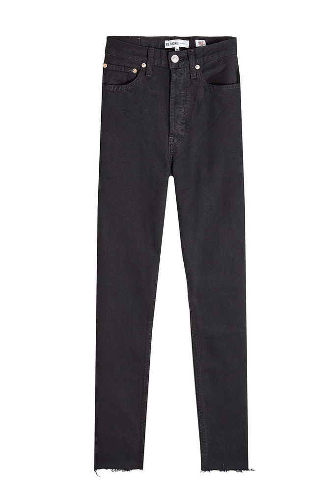 RE/DONE High Rise Ankle Crop Straight Leg Jeans
