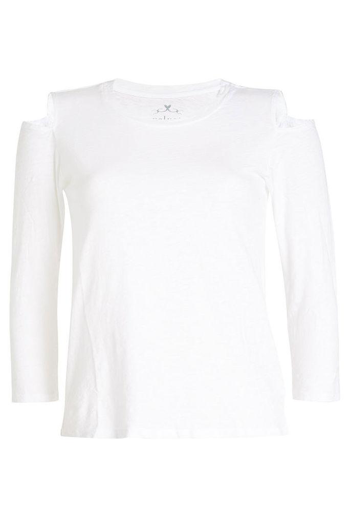 Velvet Cotton Top with Cut-Out Shoulders