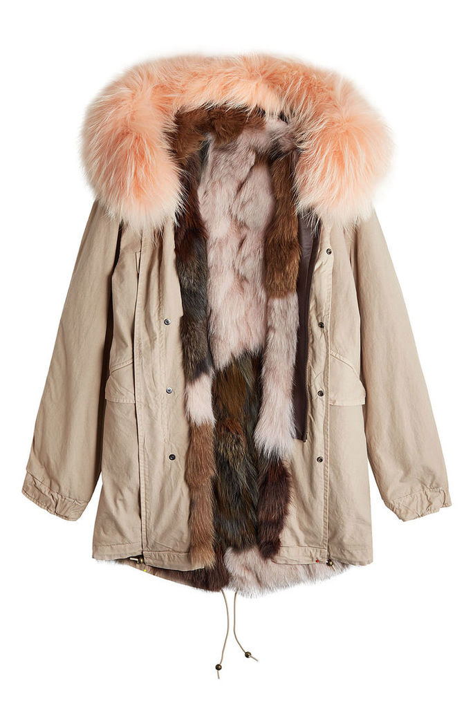 Mr & Mrs Italy Cotton Parka Jacket with Fur-Trimmed Hood and Lining