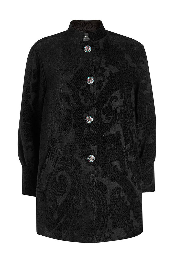 Etro Coat with Wool, Silk and Embellished Buttons