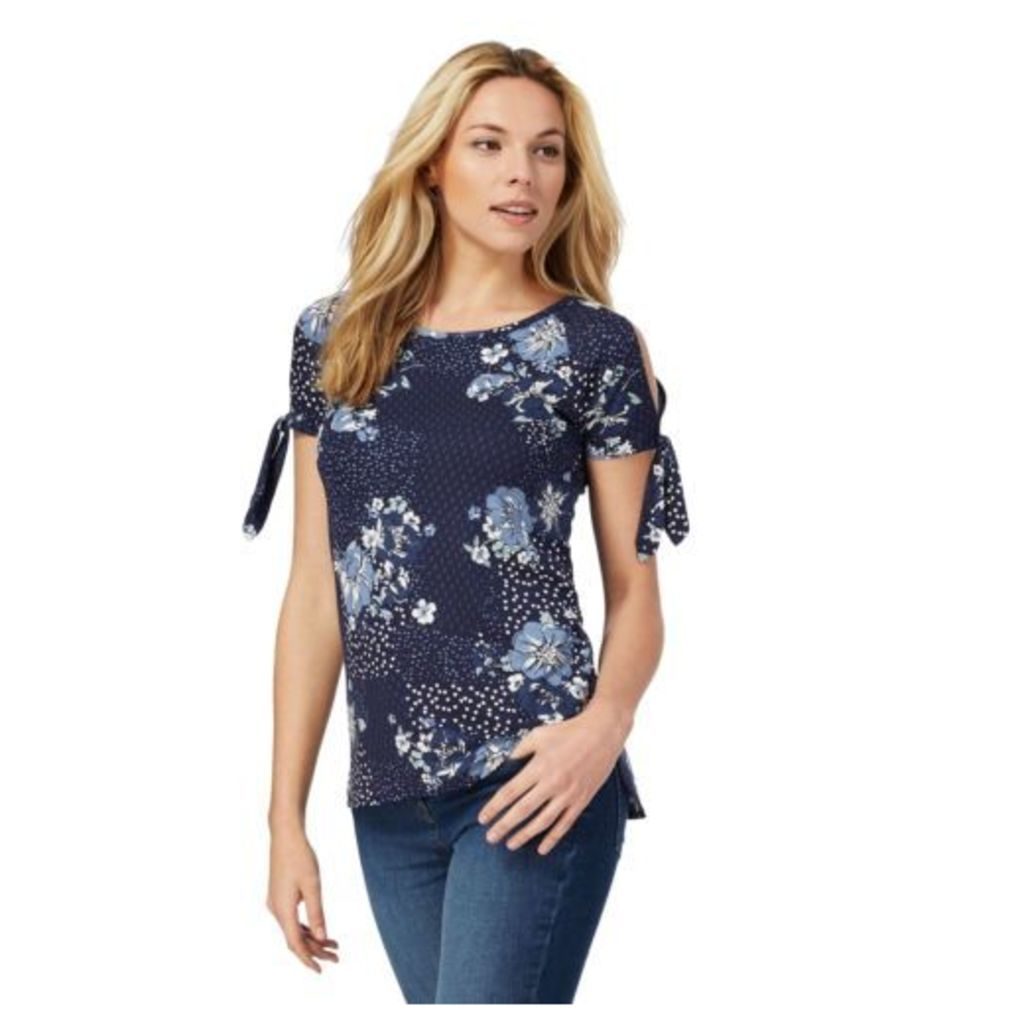 The Collection Womens Blue Floral Print Cold Shoulder Top From Debenhams 8