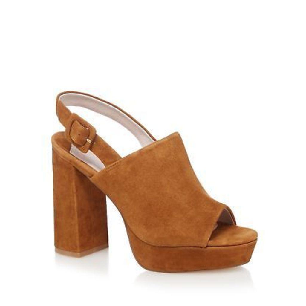 Faith Tan Suede 'Lamar' High Block Heel Slingback Sandals From Debenhams