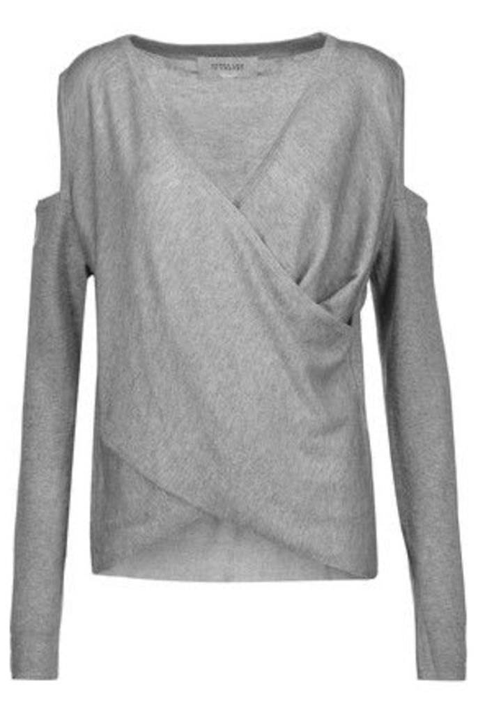 Derek Lam 10 Crosby - Wrap-effect Cold-shoulder Silk And Cashmere-blend Sweater - Gray