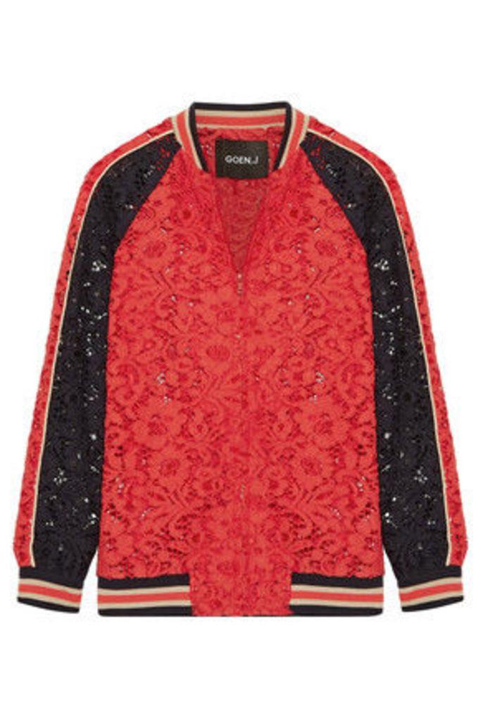 Goen J - Cotton-blend Corded Lace Bomber Jacket - Red
