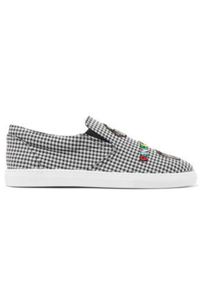 Mira Mikati - Appliquéd Houndstooth Canvas Slip-on Sneakers - Gray