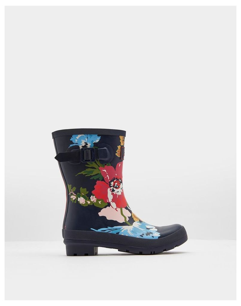 French Navy Posy Molly Mid-Height Printed Wellies  Size Adult 4   Joules UK