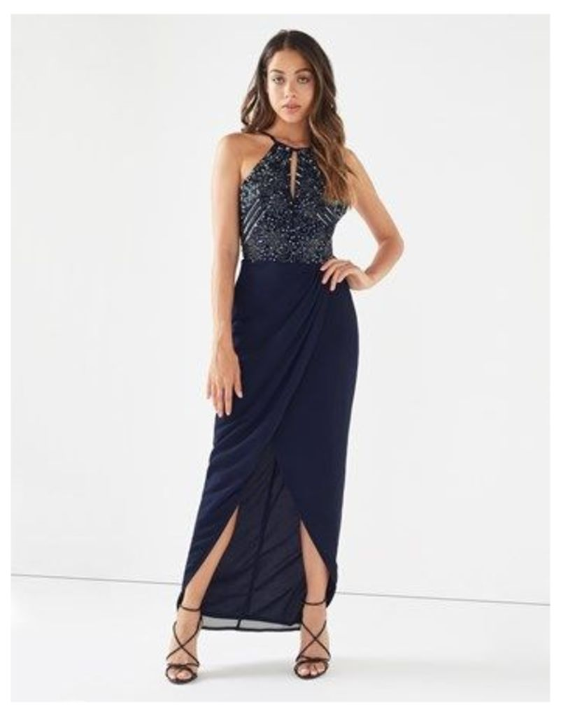 Lace And Beads Wrap Maxi Dress