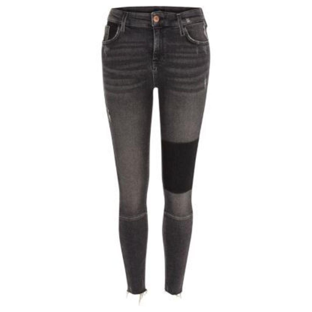 River Island Womens Black washed Amelie super skinny panel jeans