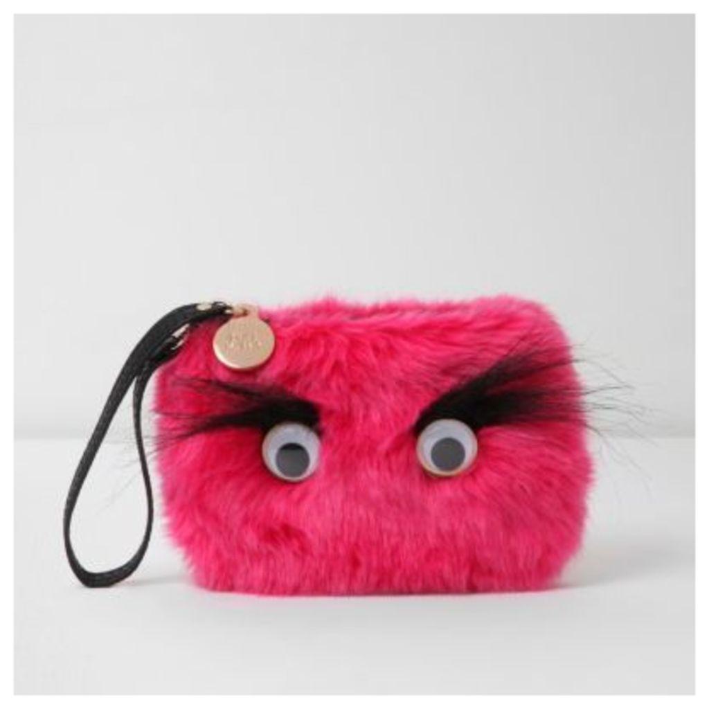 River Island Womens Pink faux fur googly eye pouch