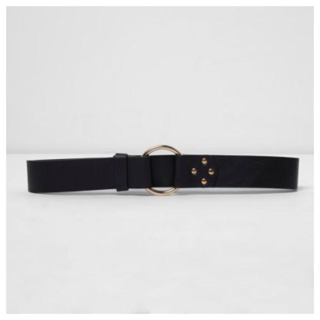 River Island Womens Black gold tone ring jeans belt
