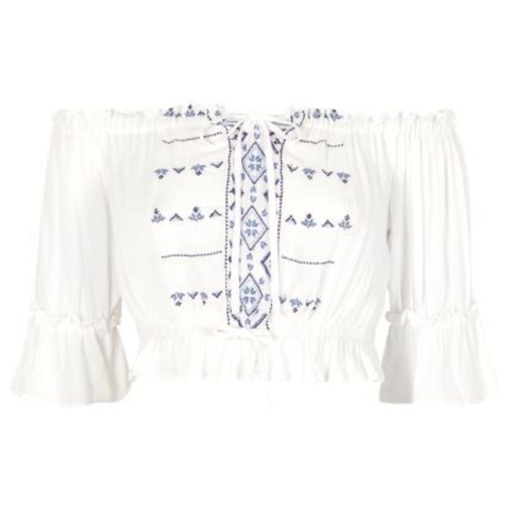 River Island Womens White embroidered bardot top