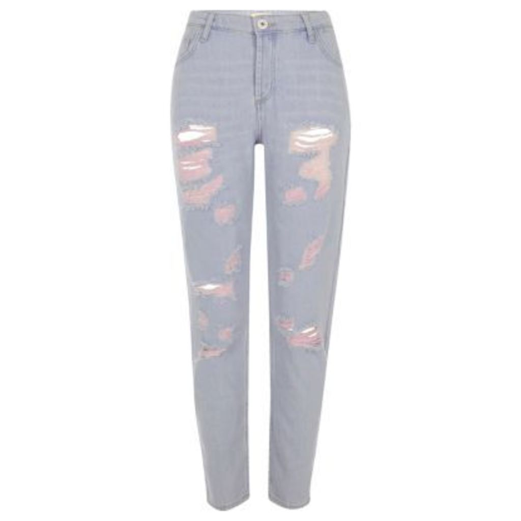 River Island Womens Blue denim pink tint ripped boyfriend jeans