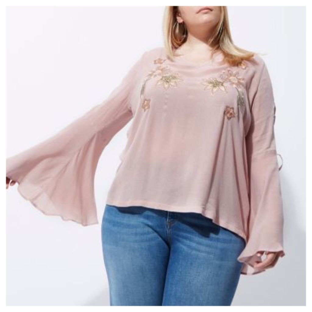 River Island Womens Plus Pink embroidered flared sleeve top