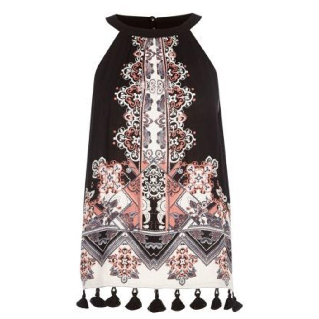 River Island Womens Black scarf print tassel hem high neck top