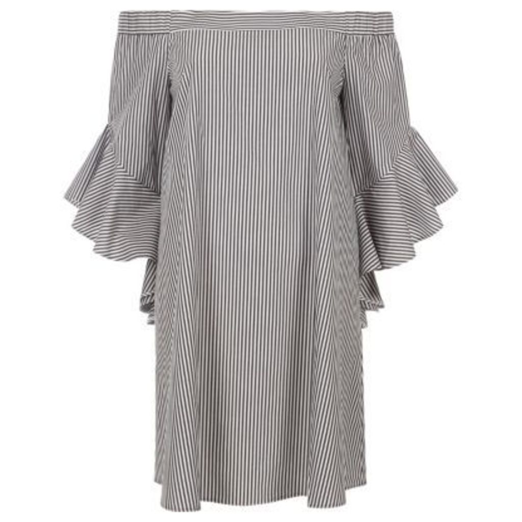 River Island Womens Black stripe bell sleeve bardot swing dress