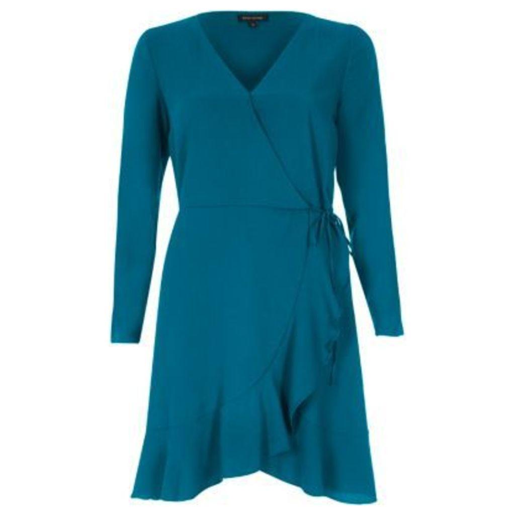 River Island Womens Green blue ruffle hem long sleeve wrap dress