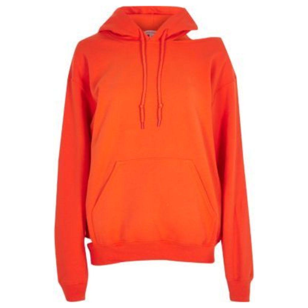 River Island Womens Orange cut out hoodie