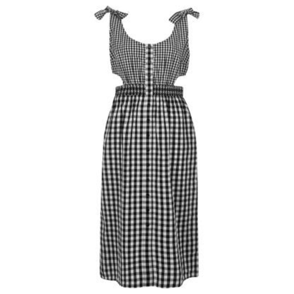 River Island Womens Black gingham print button through midi dress