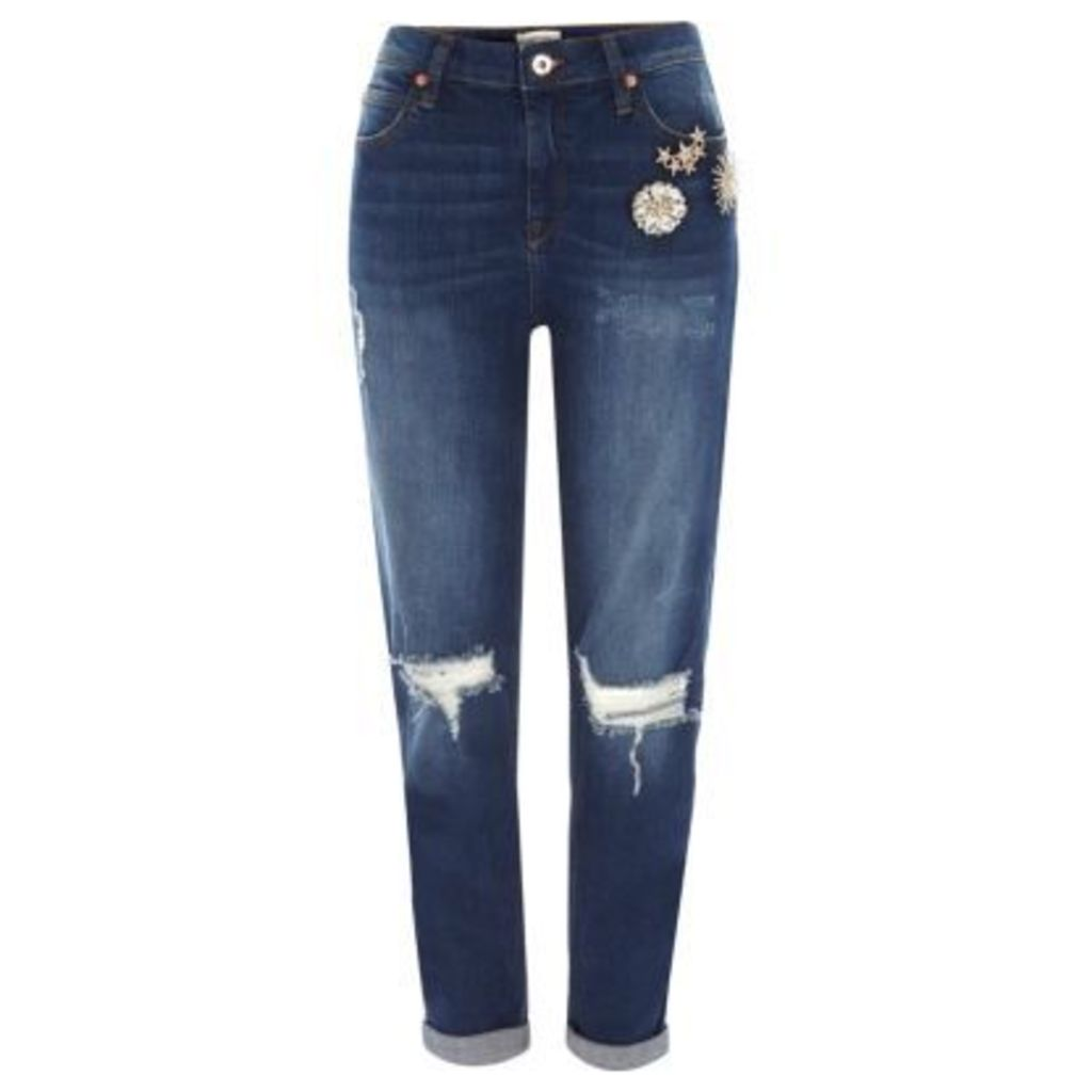 River Island Womens Dark Blue brooch ripped boyfriend jeans