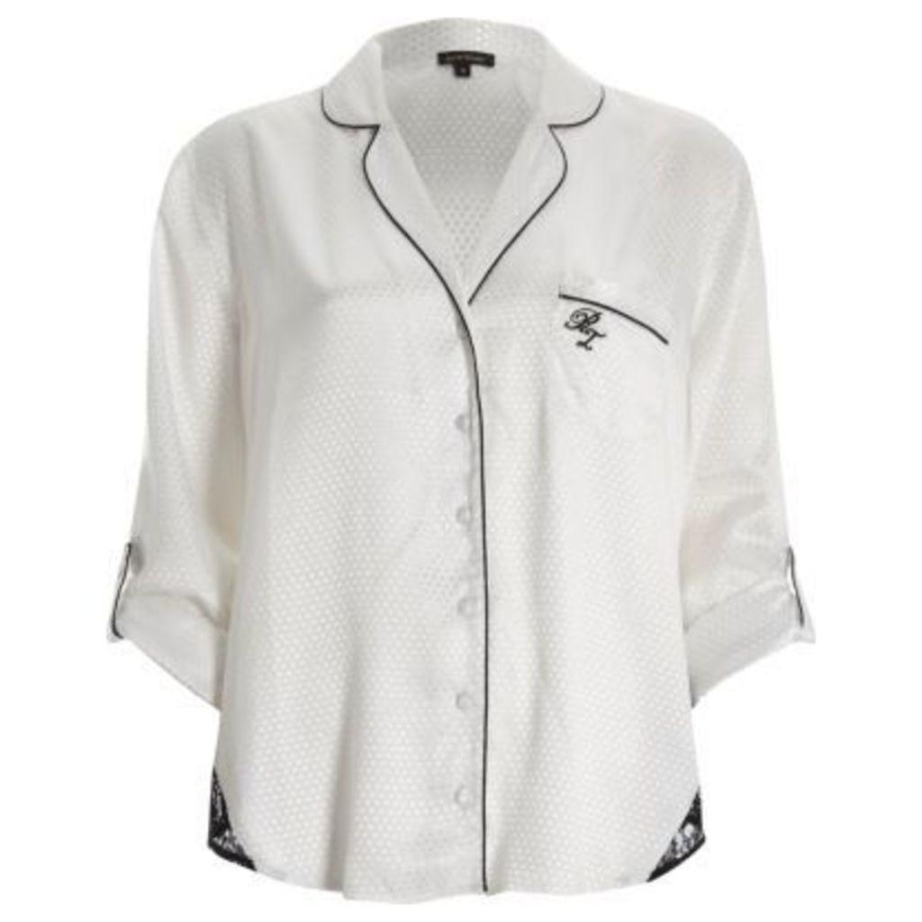 River Island Womens White dobby lace hem pyjama shirt