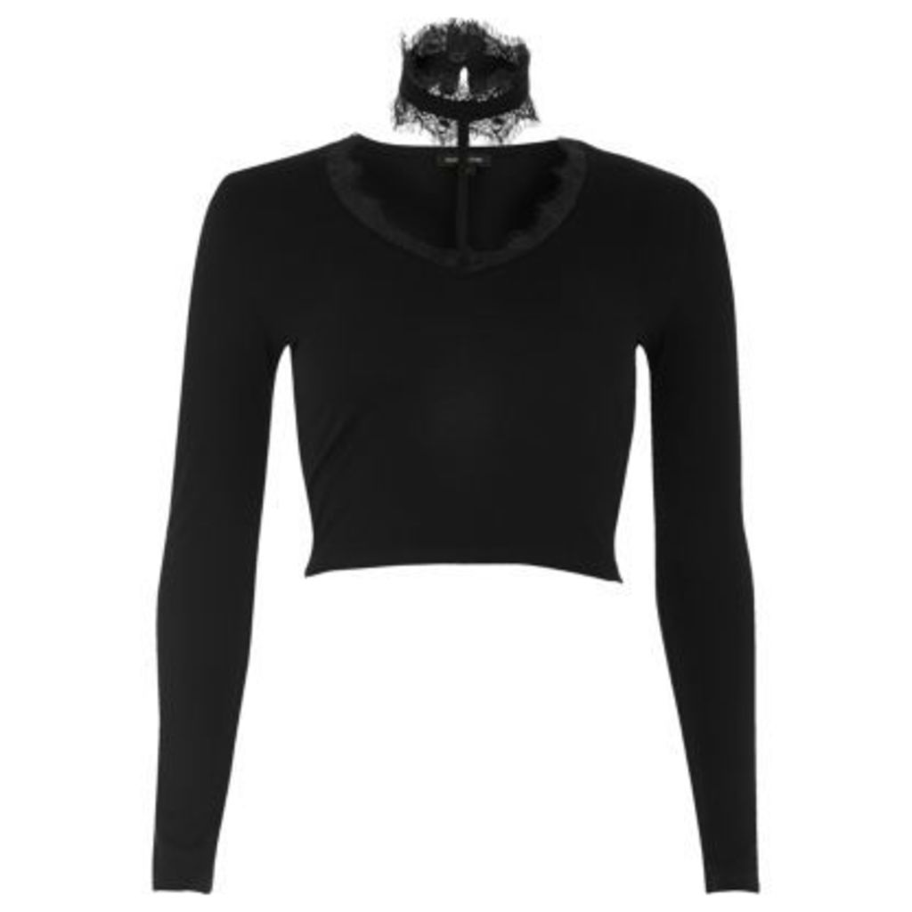 River Island Womens Black lace T-bar crop top