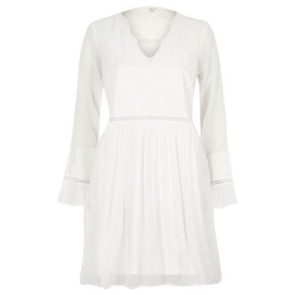 River Island Womens Cream lace long sleeve smock dress