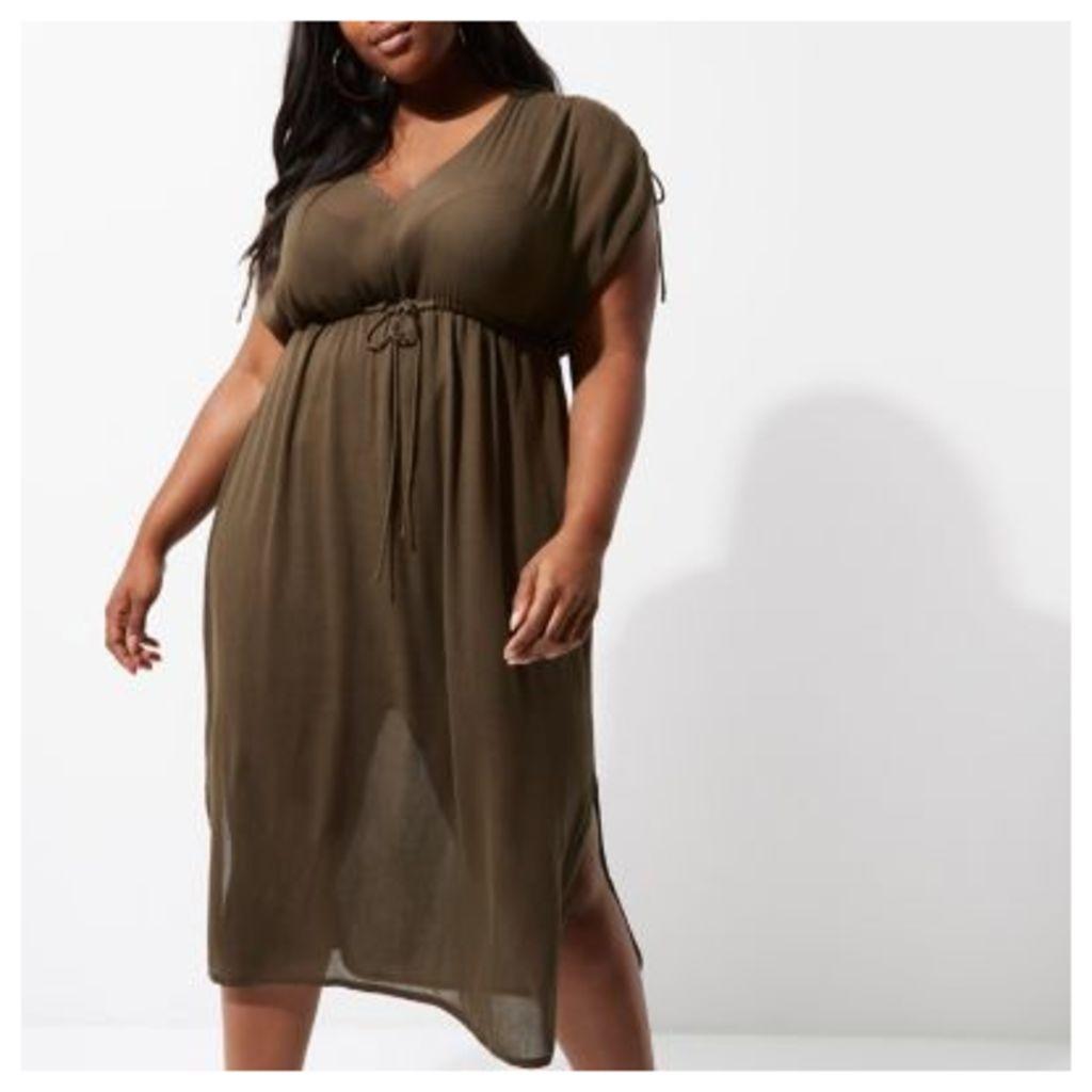 River Island Womens Plus Khaki green ruched midi dress