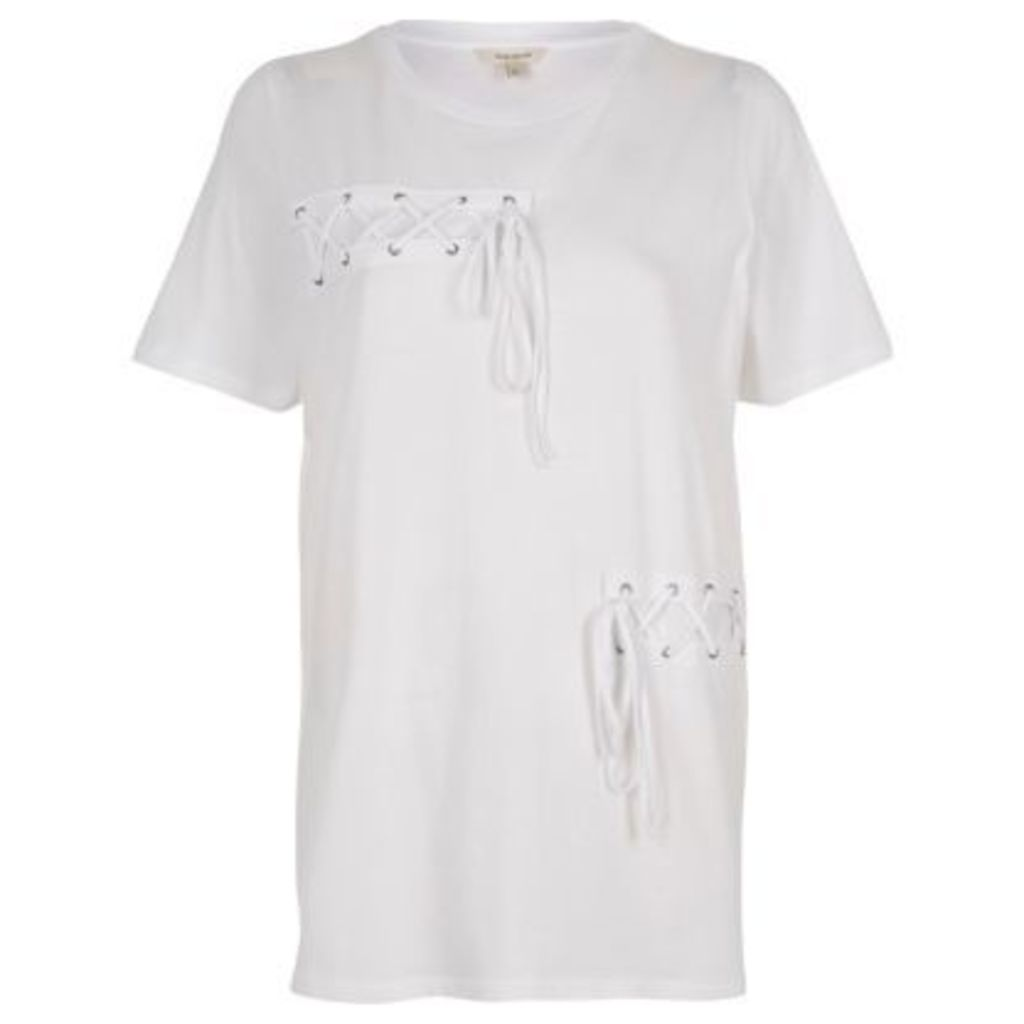 River Island Womens White lace-up front boyfriend T-shirt