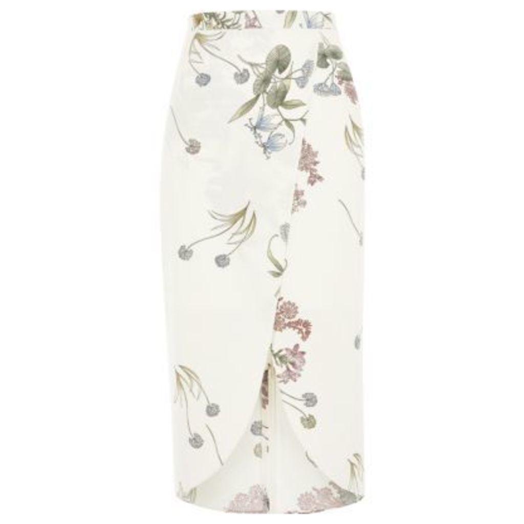 River Island Womens Cream floral print wrap midi skirt