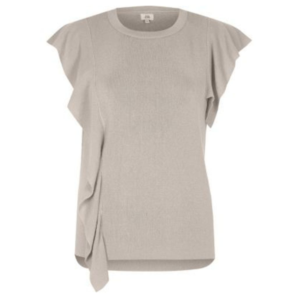 River Island Womens Light Brown knit frill front top
