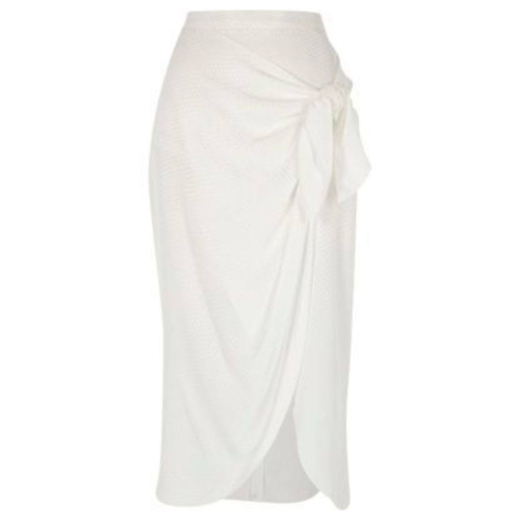 River Island Womens White wrap front tie side midi skirt