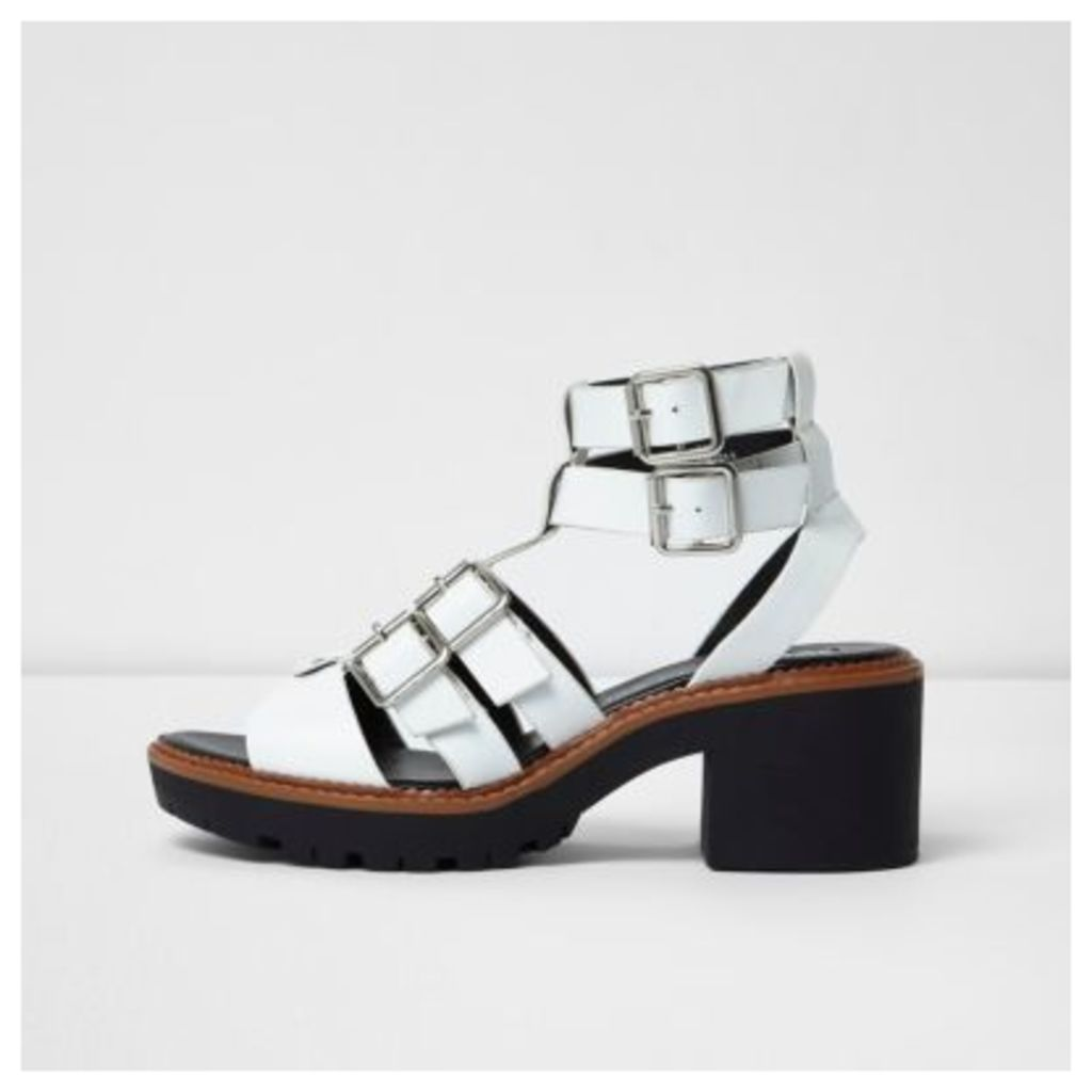 River Island Womens White multi buckle strap gladiator sandals