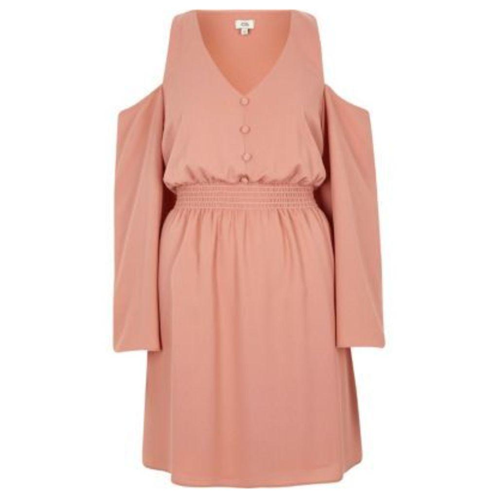 River Island Womens Light Pink cold shoulder shirred waist dress