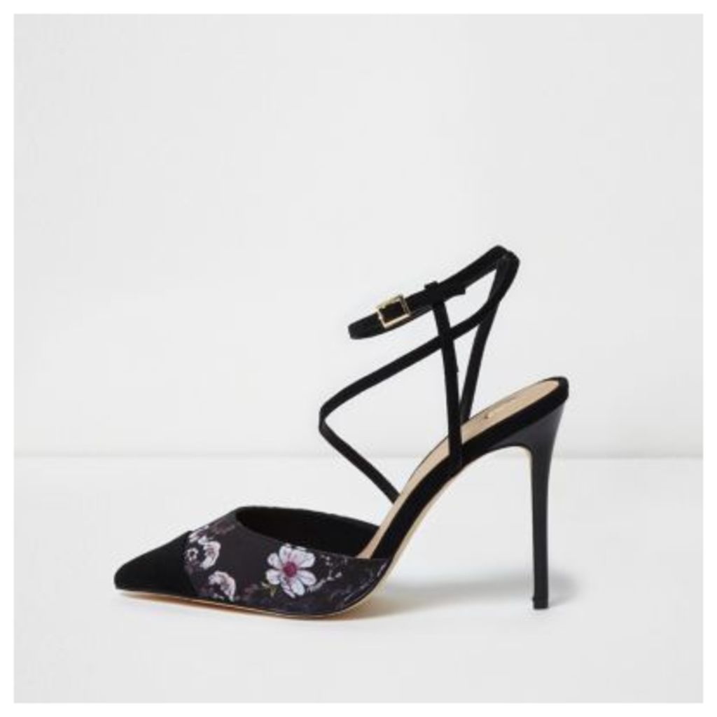 River Island Womens Black floral print strappy court shoes
