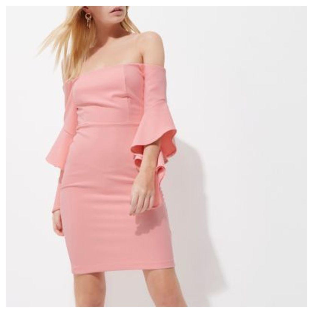 River Island Womens Petite Pink frill sleeve bardot bodycon dress