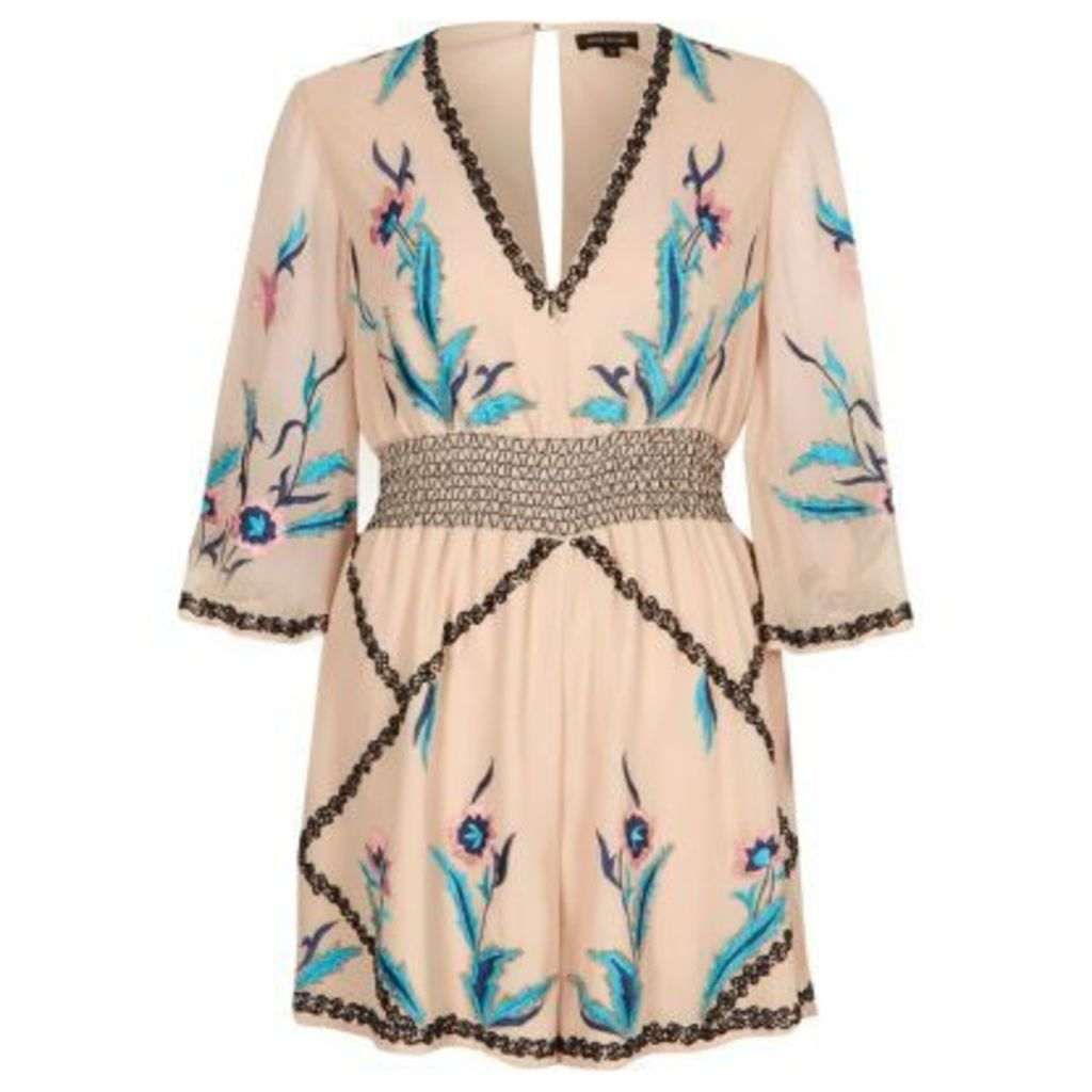 River Island Womens Cream floral embellished kimono playsuit