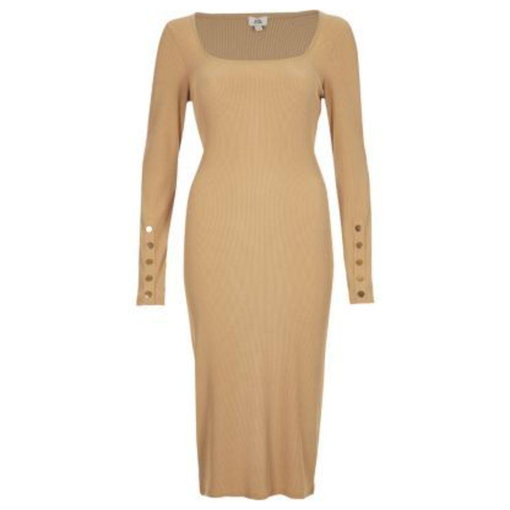 River Island Womens Dark Beige rib long sleeve bodycon dress