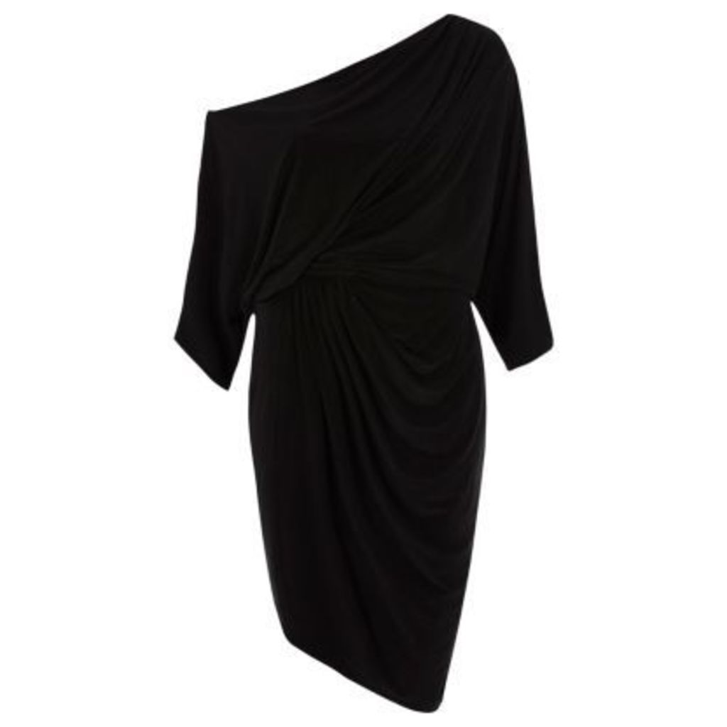 River Island Womens Black ruched side batwing sleeve midi dress