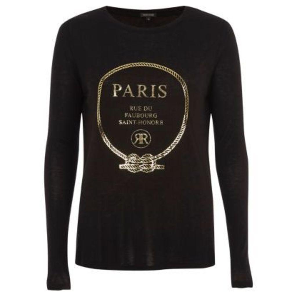 River Island Womens Black 'Paris' foil long sleeve T-shirt