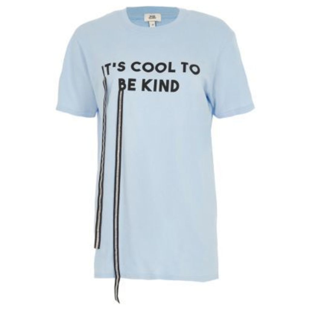 River Island Womens Blue 'it's cool to be kind' print T-shirt