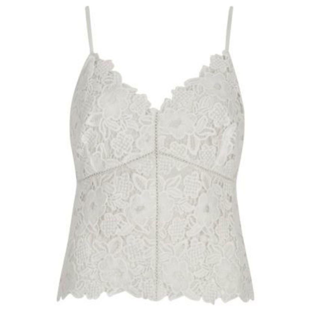River Island Womens Cream lace cami crop top