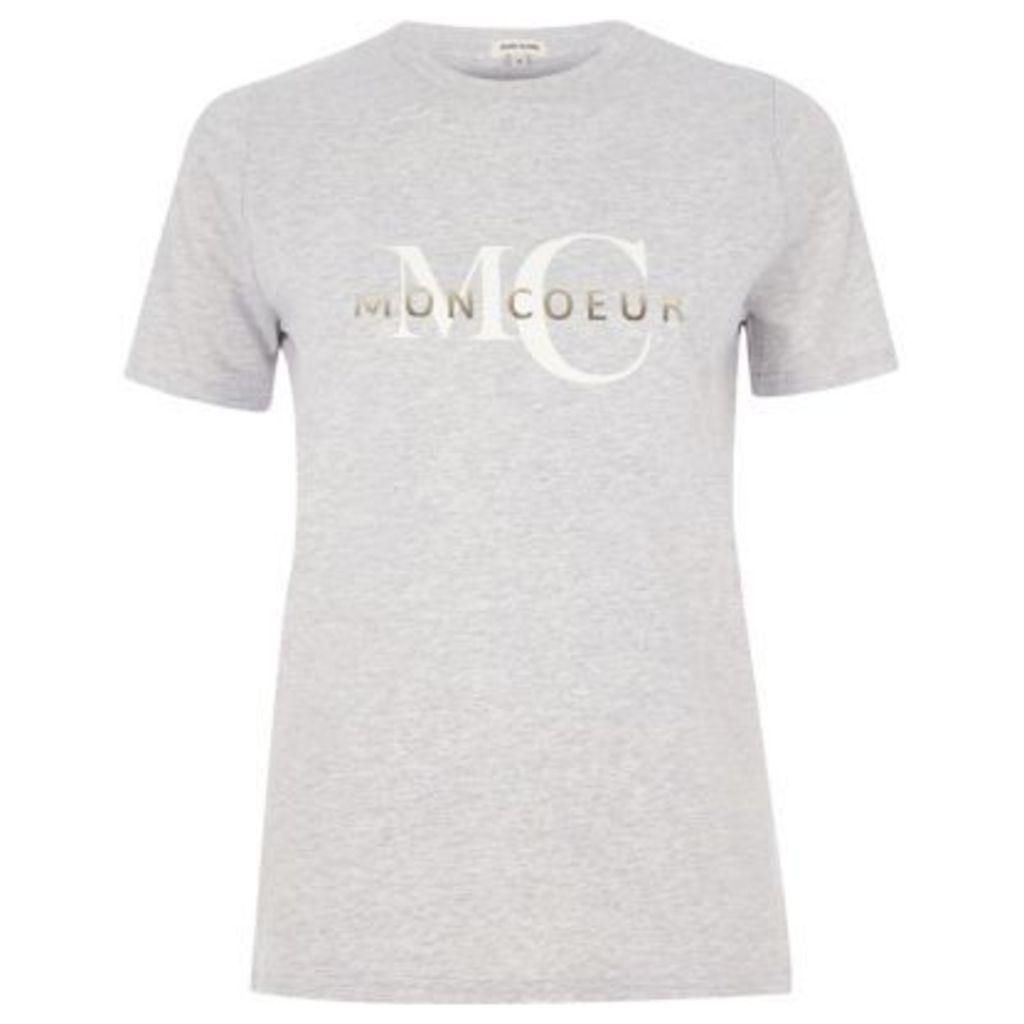 River Island Womens Grey 'mon coeur' print fitted T-shirt