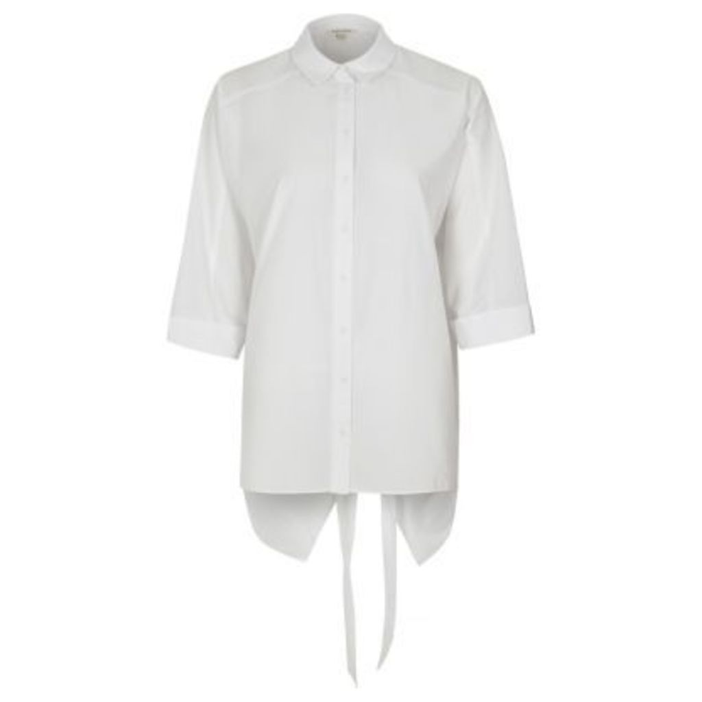 River Island Womens White Ls Nate Tie Back Shirt