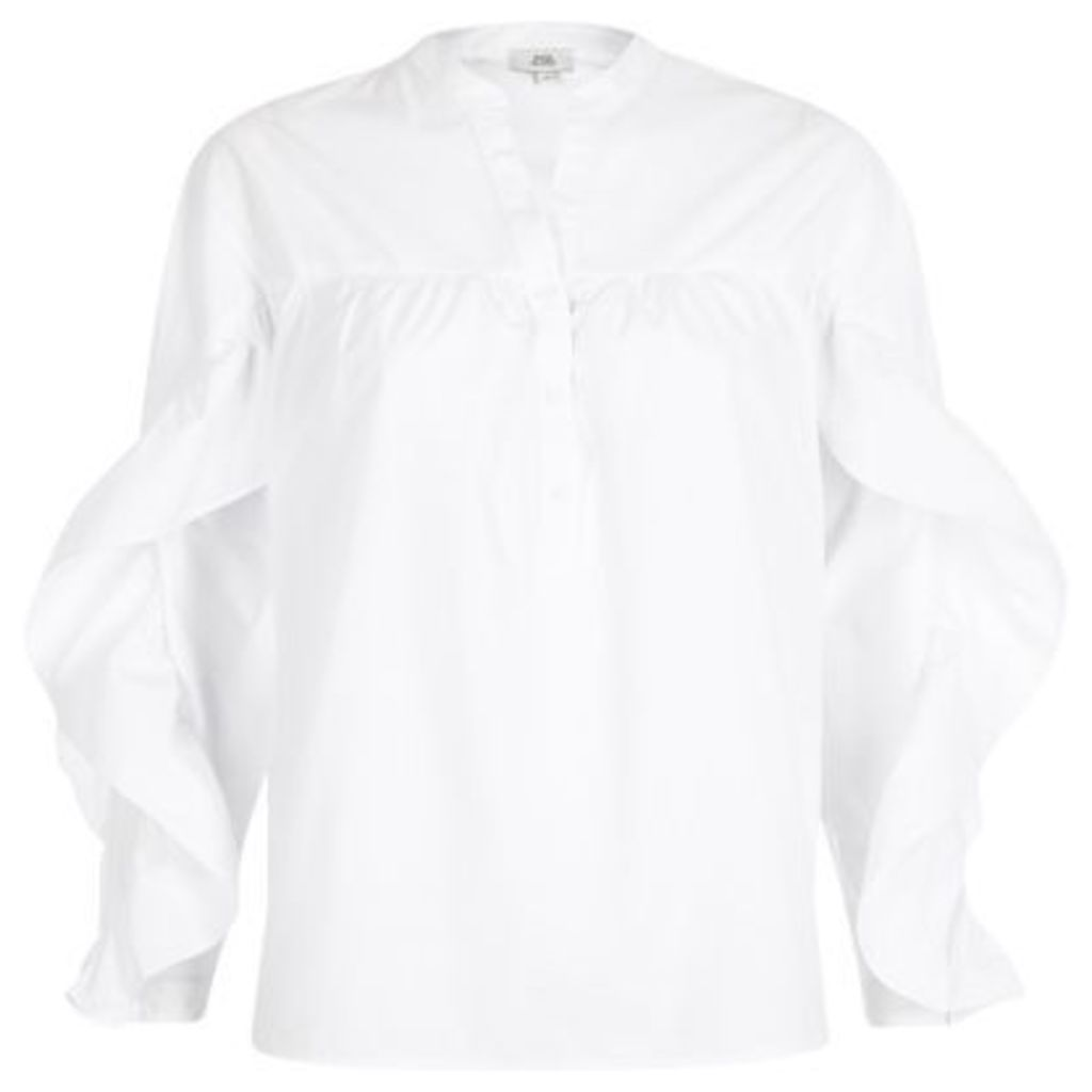 River Island Womens White frill sleeve shirt